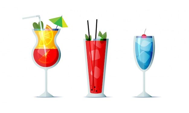 Cocktails icon set cartoon design stijl. drie populaire alcoholische dranken voor ontwerpmenu Premium Vector