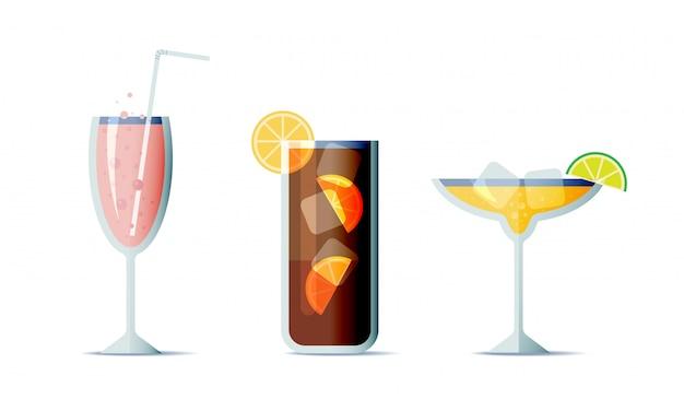 Cocktails icon set in trendy platte ontwerpstijl. drie populaire alcoholische dranken voor ontwerpmenu Premium Vector