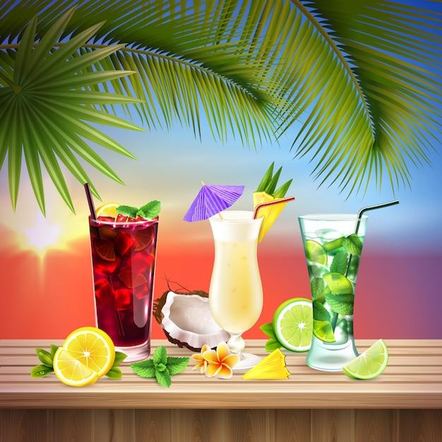 Cocktails instellen realistische compositie Gratis Vector
