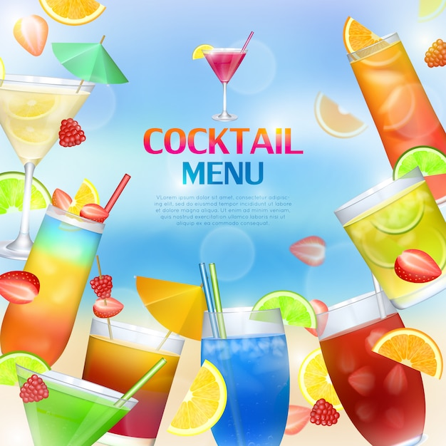 Cocktails menu concept Premium Vector