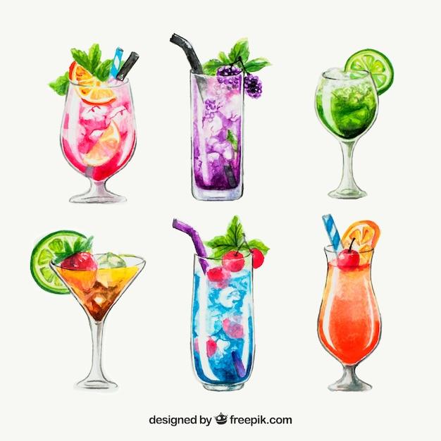 Cocktailsinzameling in waterverfstijl Gratis Vector