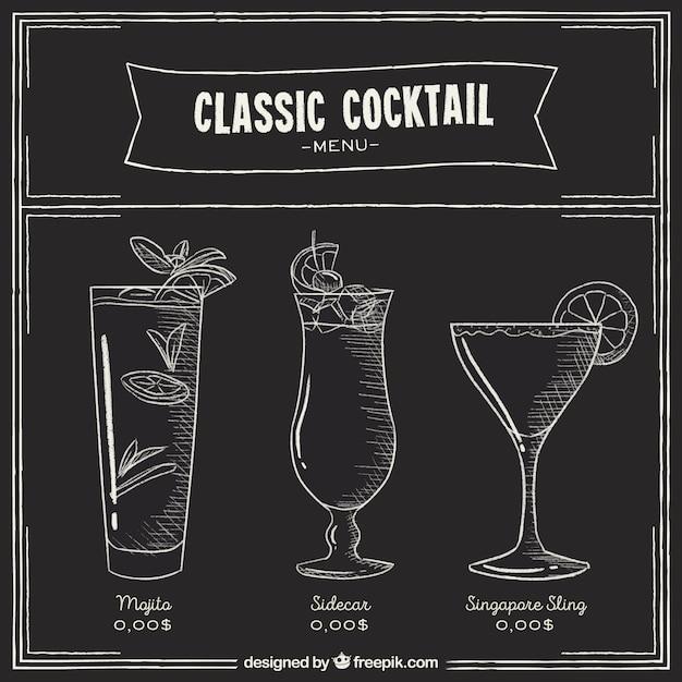 Cocktailsmenu in bordstijl Gratis Vector
