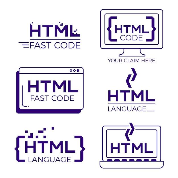 Code logo decorontwerp plat Gratis Vector