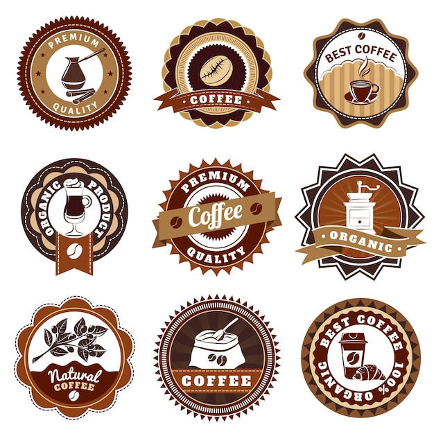 Coffe emblemenetiketten instellen bruin Gratis Vector