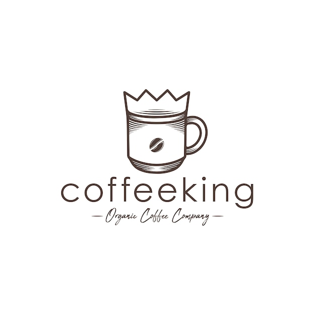 Coffee king logo sjabloon Premium Vector