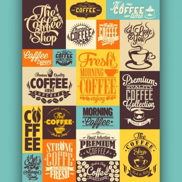 Coffee ontwerpen collectie Gratis Vector