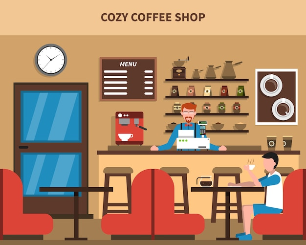 Coffee shop bar interieur retro flat banner Gratis Vector