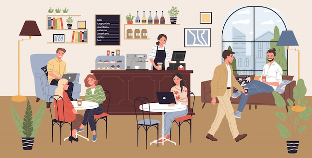 Coffee shop illustratie Premium Vector