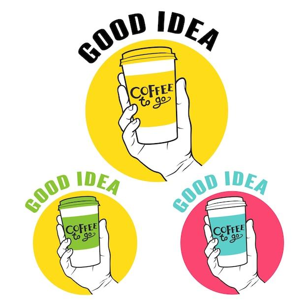 Coffee to go hand embleem set Premium Vector