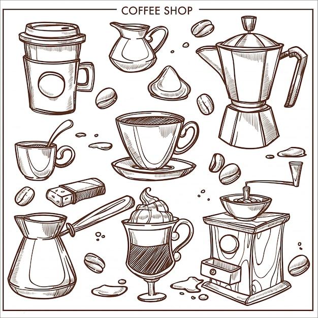 Coffeeshop apparatuur hulpmiddelen schets Premium Vector