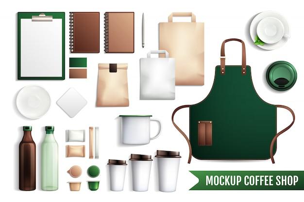 Coffeeshop elementen mockup Gratis Vector