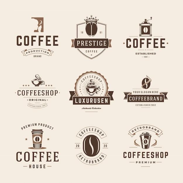 Coffeeshop emblemen en badges sjablonen instellen. Premium Vector