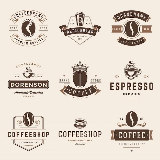 Coffeeshop emblemen en badges vector sjablonen instellen. Premium Vector