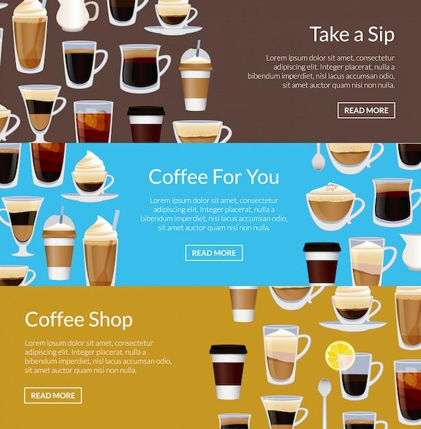 Coffeeshop horizontale bannermalplaatjes met verschillende koffiekoppen Premium Vector