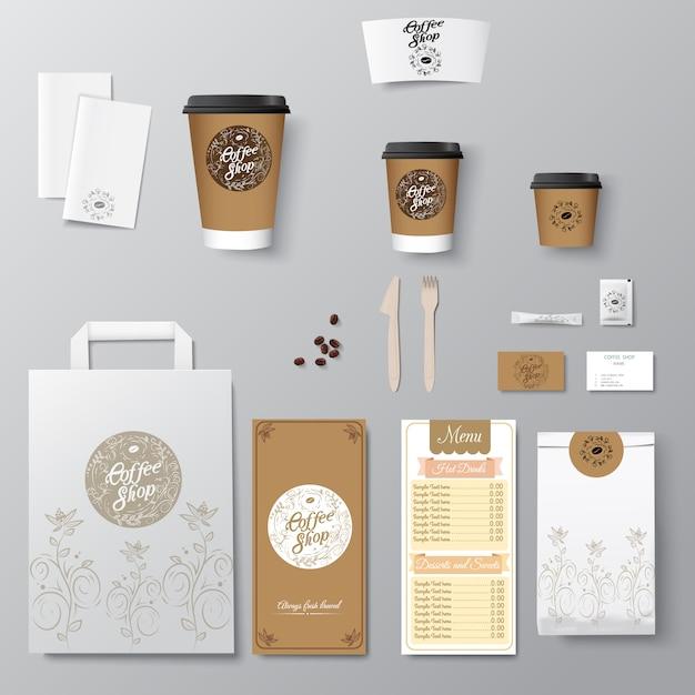 Coffeeshop huisstijl sjabloonontwerp set met kalligrafie logo. sjabloon weghalen, Premium Vector