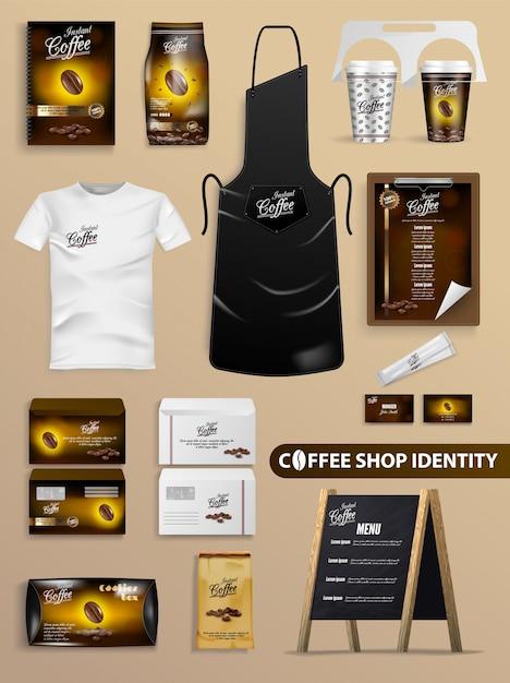 Coffeeshop identiteit met realistische merkset. Premium Vector