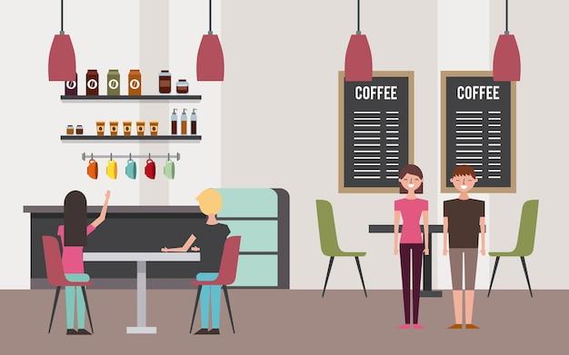 Gaas Het Interieur : Coffeeshop interieur met mensen klant vector premium download