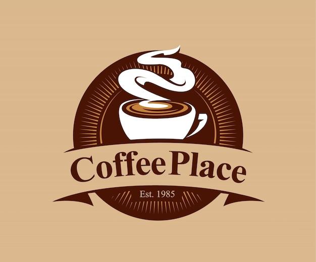 Coffeeshop kenteken in vintage stijl Gratis Vector