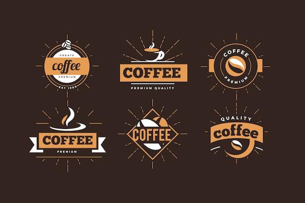 Coffeeshop logo retro collectie Gratis Vector