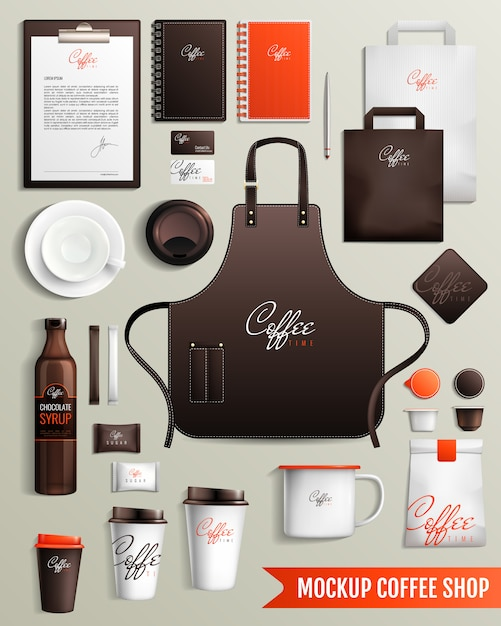 Coffeeshop ontwerp mockup Gratis Vector