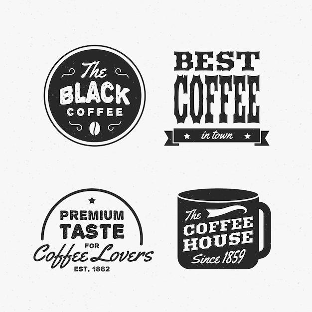 Coffeeshop retro logo collectie Gratis Vector