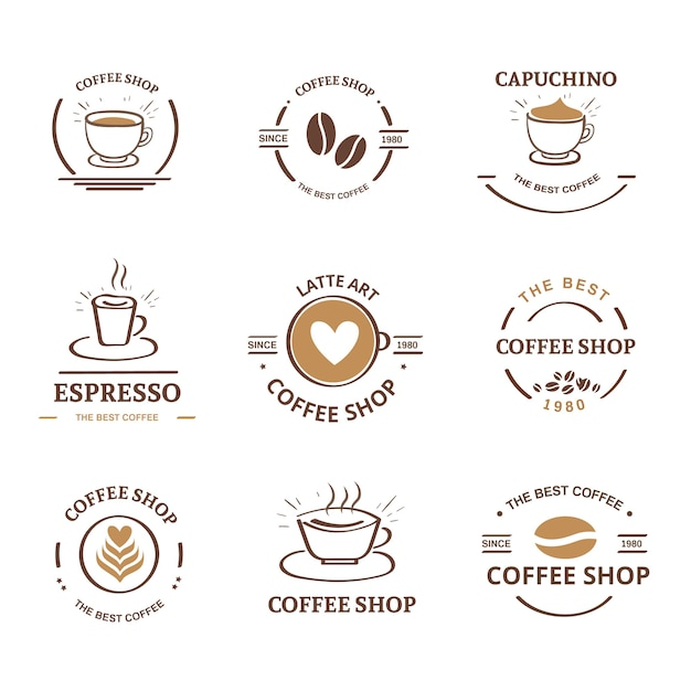 Coffeeshop retro logo collectie Gratis Vector
