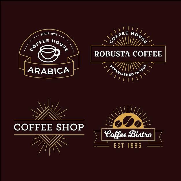 Coffeeshop retro logo pack Gratis Vector