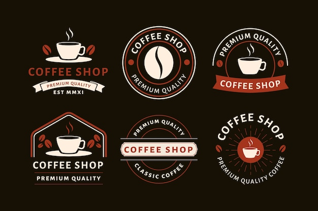 Coffeeshop vintage logo collectie Gratis Vector