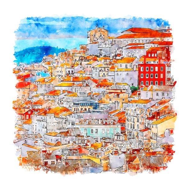 Coimbra portugal aquarel schets hand getrokken Premium Vector