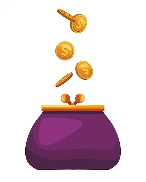 Coin purse icon Premium Vector