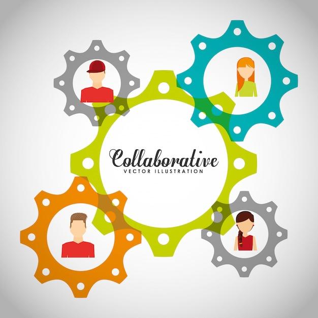 Collaborative concept illustratie Gratis Vector