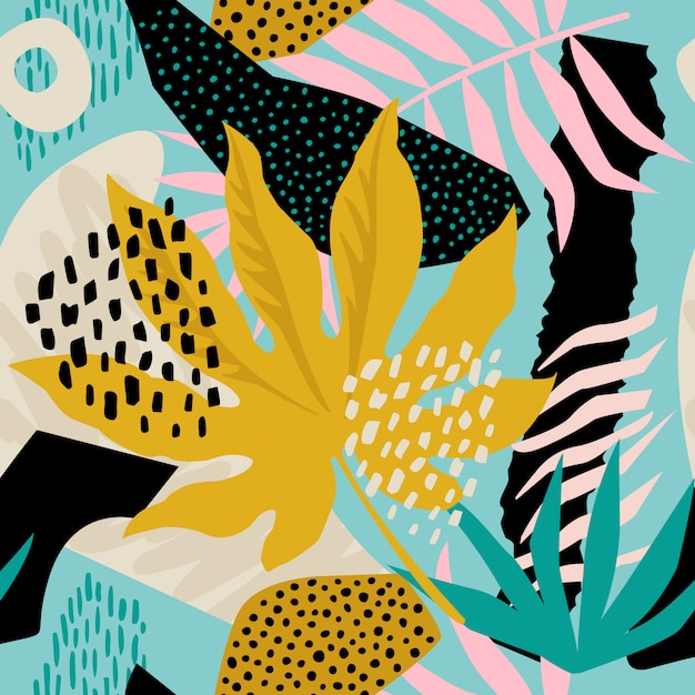 Collage eigentijds bloemen hawaiiaans patroon in vector. naadloos oppervlakontwerp. Premium Vector
