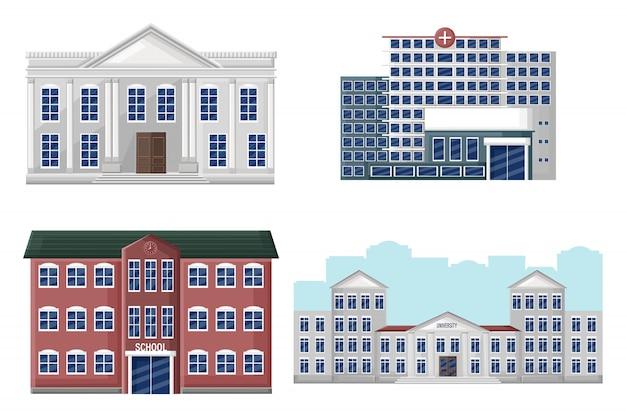 Collectie architecturale gevels universiteit, school, ziekenhuis en bank Premium Vector