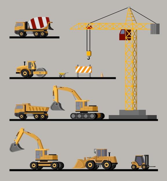 Collectie bouwvoertuigen Gratis Vector