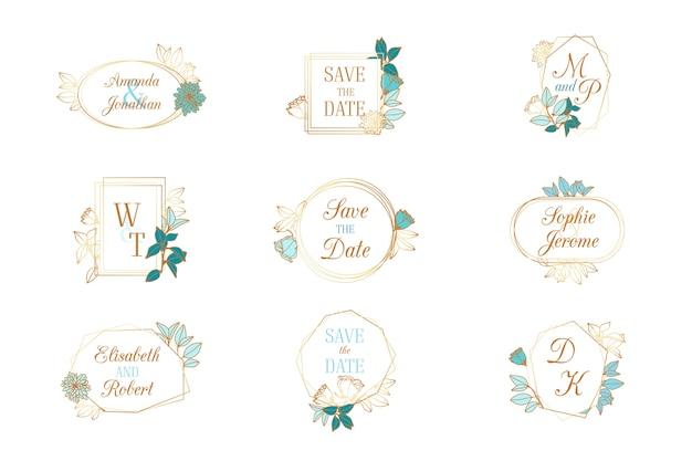 Collectie bruiloft monogrammen Gratis Vector