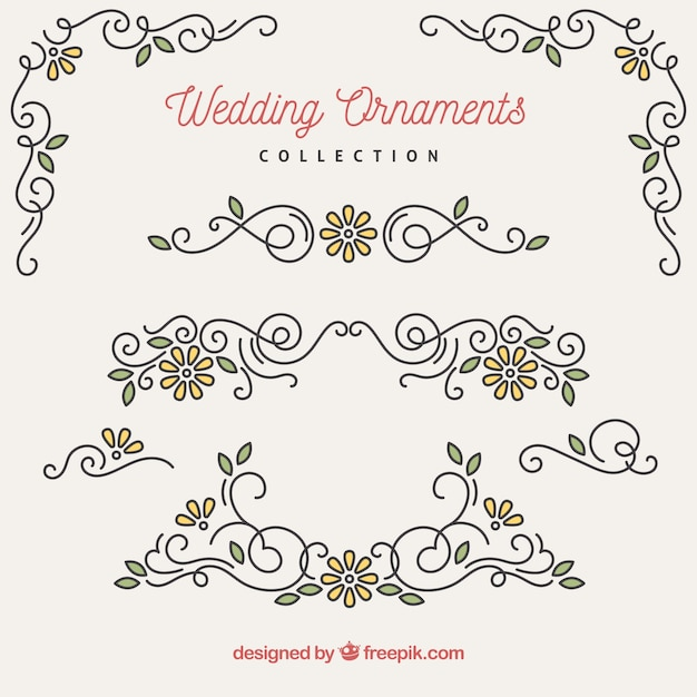 Collectie bruiloft ornamenten Gratis Vector