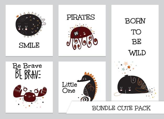 Collectie cute cartoon plat onder zeedier kaartenset Premium Vector