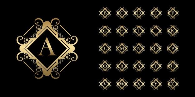 Collectie eerste alfabet met luxe sieraad bloemen frame gouden logo sjabloon. Premium Vector