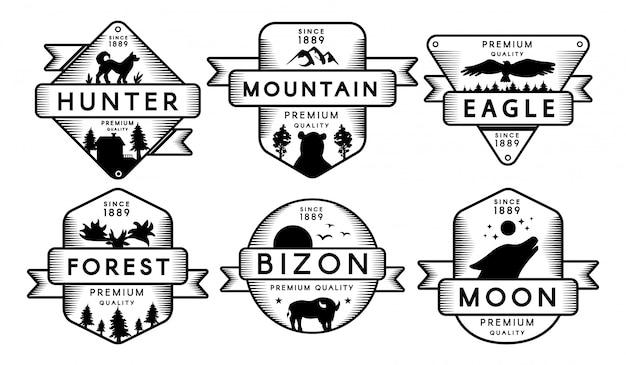 Collectie etiketten dieren en natuur instellen logo Premium Vector