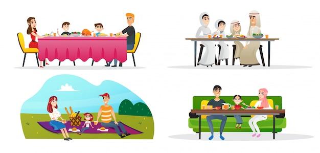Collectie familie lunch in verschillende culturen instellen. Premium Vector