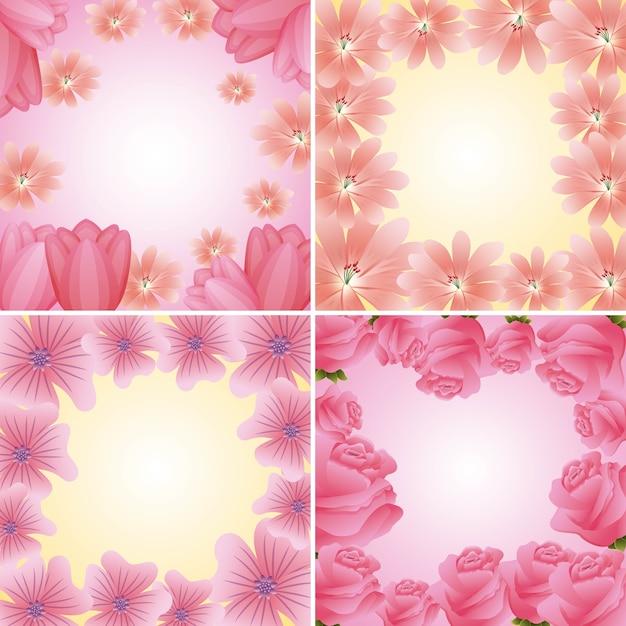 Collectie frames bloemen delicate bloemen decoratie Premium Vector