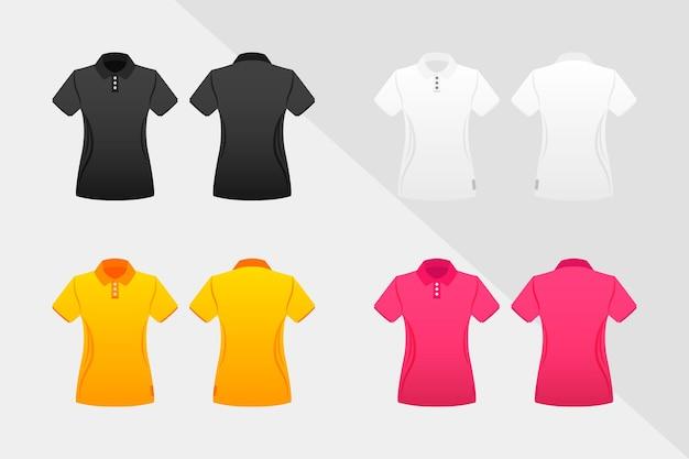 Collectie gekleurde poloshirts voor dames Premium Vector
