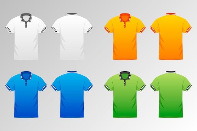 Collectie gekleurde poloshirts voor heren Premium Vector