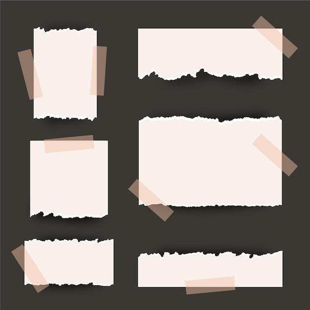 Collectie gescheurd papier met plakband Premium Vector