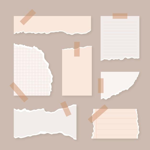 Collectie gescheurd papier met tape-stijl Premium Vector