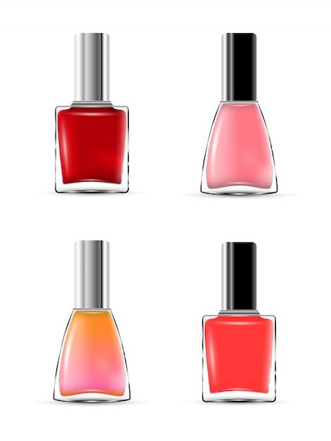 Collectie glanzende nagellakfles met dop. Premium Vector