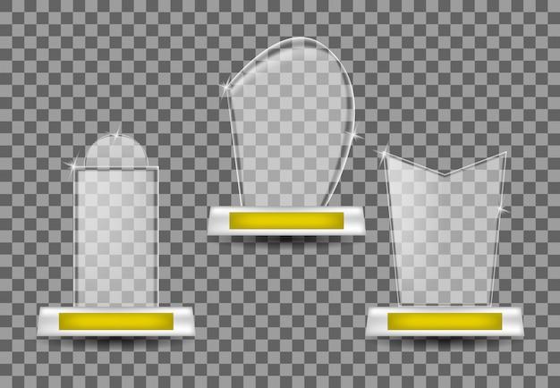 Collectie glazen trofeeën Premium Vector
