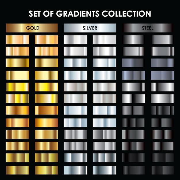 Collectie goud, zilver, donker zilver verloop Premium Vector