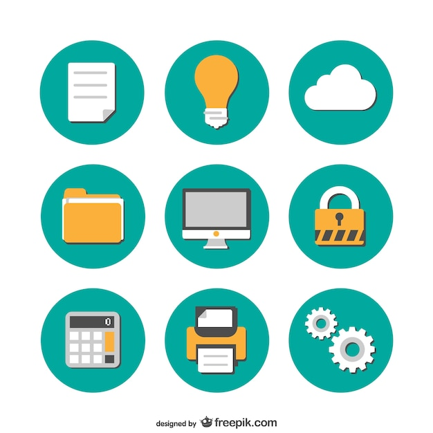 Collectie gratis office vlakke pictogrammen Gratis Vector