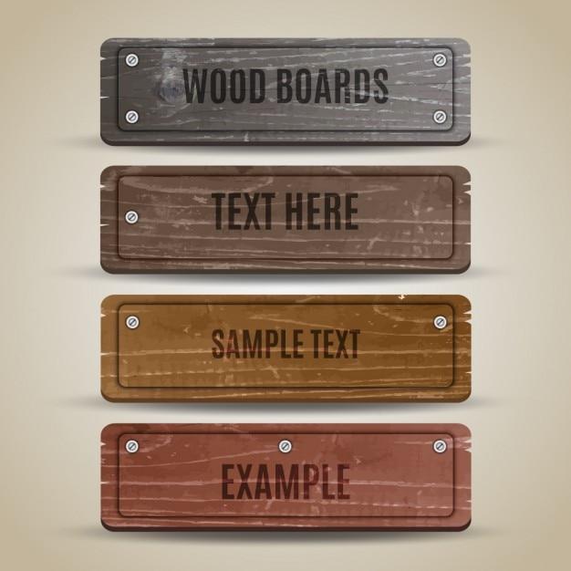 Collectie houten bord Gratis Vector